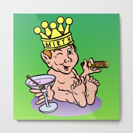 Mirthful Relaxing With Cigar & Martini Metal Print
