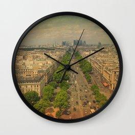 Avenue De Champs Elysees in Paris Wall Clock