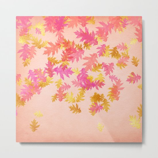 Autumn-world 1 - gold glitter leaves on pink background Metal Print