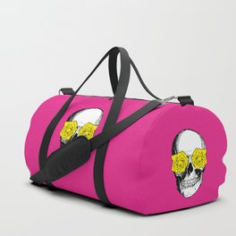 Skull and Roses   Pink and Yellow Duffle Bag