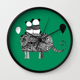 Panda. Love. Elephant travel Wall Clock