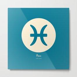 Pisces Symbol Blue Metal Print