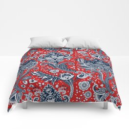 Red White & Blue Floral Paisley Comforters