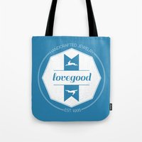 luna lovegood Tote Bags featuring Lovegood Handcrafted Jewelry by Dorothy Leigh
