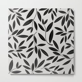 Black and White Plant Leaves Pattern Metal Print