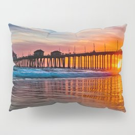 HB Sunsets - Sunset At The Huntington Beach Pier 3/10/16 Pillow Sham