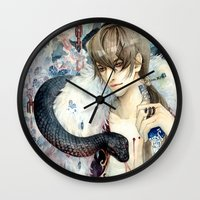 devil Wall Clocks featuring Devil by Sinvia Doanh Doanh