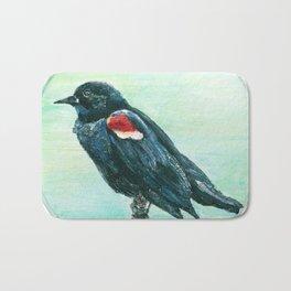 Red-Winged Blackbird Circle Painting Bath Mat