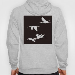 White Silhouette of Glossy Ibises In Flight Hoody