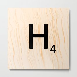 Scrabble Letter H - Large Scrabble Tiles Metal Print