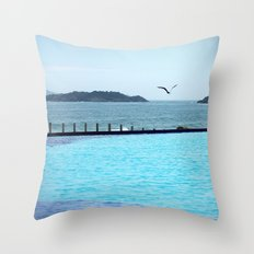 Swimming Pool Gull Throw Pillow