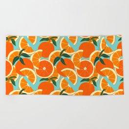 Orange Harvest - Blue Beach Towel