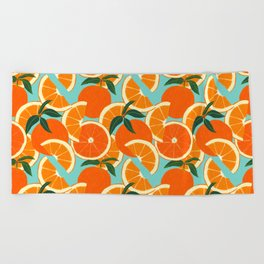 Orange Harvest - Blue Beach Towel