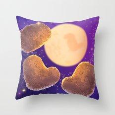 Three Nugget Moon Throw Pillow