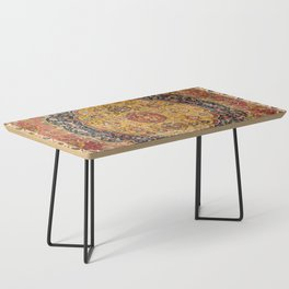 Indian Boho III // 16th Century Distressed Red Green Blue Flowery Colorful Ornate Rug Pattern Coffee Table