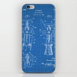 Cork Screw Patent - Wine Art - Blueprint iPhone Skin