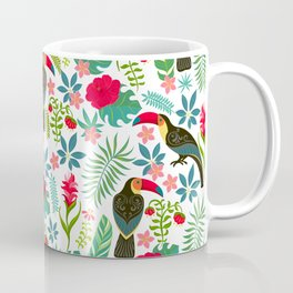 Decorative pattern with toucans, tropical flowers and leaves Coffee Mug