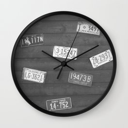Old Plates Black and White  Wall Clock
