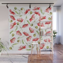Red Poppies, Illustration Wall Mural