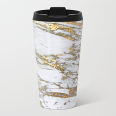 Gold Marble Metal Travel Mug