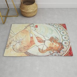 Painting by Alphonse Mucha 1898 // Retro Woman with a Flower Geometric Circle Abstract Rug
