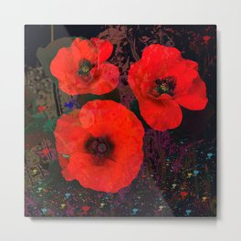 Popping Poppies Metal Print