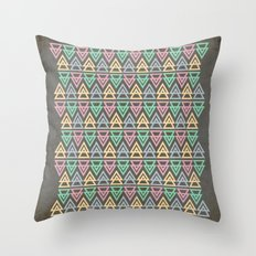 Triangulate 3 / Neon Midnight Throw Pillow