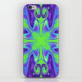 Groovy, Retro Purple and Green Swirls Design iPhone Skin