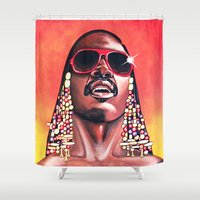 stevie nicks Shower Curtains featuring Stevie Wonder by Laura-A