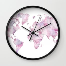 Lavander and pink watercolor world map Wall Clock