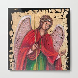 Archangel Gabriel Fresco With A Crackled Finish for #Society6 Metal Print