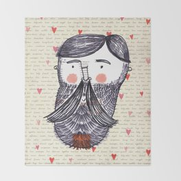 Bearded Lumberjack Man Throw Blanket
