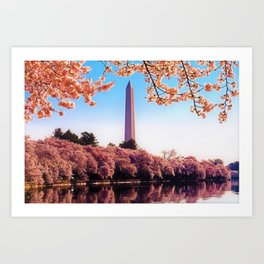 Spring Cherry Blossoms at the Washington Monument Portrait Painting Art Print