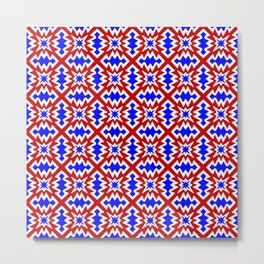 Red White and Blue Firecracker Festive Fireworks Stylized Country Decor Southwestern Design Pattern Metal Print
