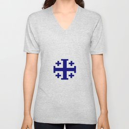 Jerusalem Cross 11 Unisex V-Neck