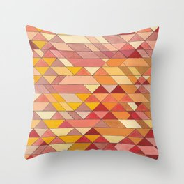 Triangle Pattern no.4 Warm Colors Red and Yellow Throw Pillow