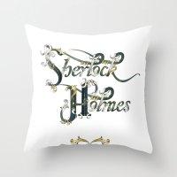 sherlock holmes Throw Pillows featuring Sherlock Holmes by Ketina