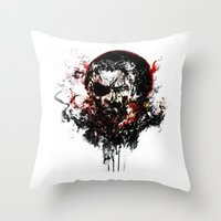metal gear solid Throw Pillows featuring Metal Gear Solid V: The Phantom Pain by ururuty