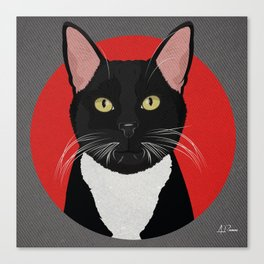 Tuxedo Cat Design in Bold Colors for Pet Lovers Canvas Print
