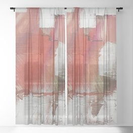 California Sun [2]: a minimal, abstract piece in reds and gold by Alyssa Hamilton Art Sheer Curtain