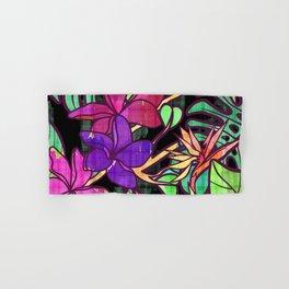 Tropical leaves and flowers, jungle print Hand & Bath Towel
