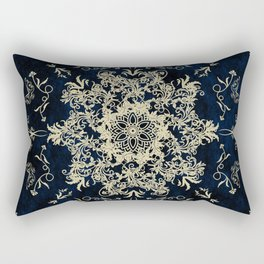 Pale Gold Floral Design On A Blue Textured Background Rectangular Pillow