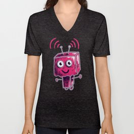 Cute Pink Robot With Paper Bag Head Unisex V-Neck
