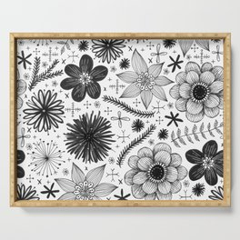 black and white floral print Serving Tray