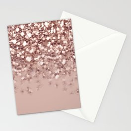 Glam Rose Gold Pink Glitter Gradient Sparkles Stationery Cards