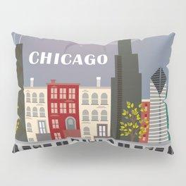 Chicago, Illinois - Skyline Illustration by Loose Petals Pillow Sham