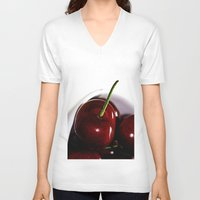 cherry V-neck T-shirts featuring Cherry by LoRo  Art & Pictures