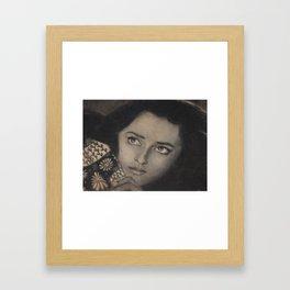 Beautiful Woman in Charcoal Framed Art Print