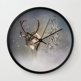 Santa Claus Reindeer in the snow Wall Clock
