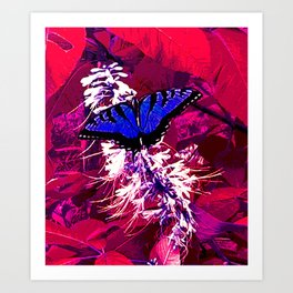 Blue Butterfly on Red Leaves Art Print